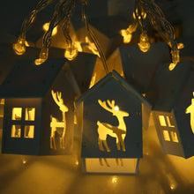 Theme Machine 10 White Wooden House Reindeer LED String Lights 1.65m Christmas