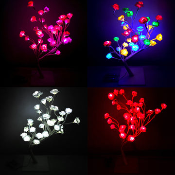 AMOS 24 LED Rose Tree 40cm Bonsai Christmas Light Home Battery Operated Decoration