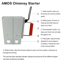 AMOS BBQ Barbecue Collapsible Chimney Starter Charcoal Grill Steel Fire Lighter