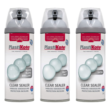 PlastiKote Clear Sealer Spray 400ml Gloss Matt Satin UV Weather Paint Protection