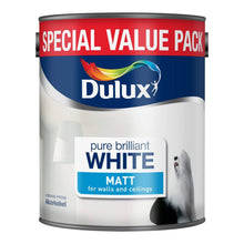 Dulux Pure Brilliant White Matt Paint - 3L  Walls Ceilings Modern Flat Finish