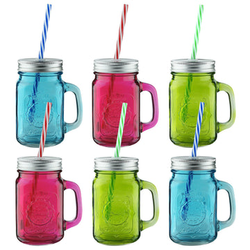 AMOS Coloured Glass Drinking Mason Jars Cocktail Handled Glasses + Lids & Straws