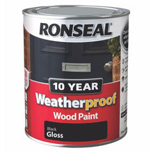 Ronseal 750ml Weatherproof 10 Year Exterior Wood Paint Protection Black Gloss
