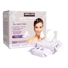 Kirkland Signature Daily Facial Towelettes 150 Pre-Moistened Remove Makeup Wipes