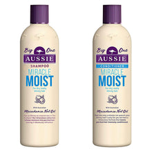 Aussie Miracle Moist Shampoo 750ml & Conditioner 725ml For Dry Thirsty Hair with Australian Macadamia Nut Oil