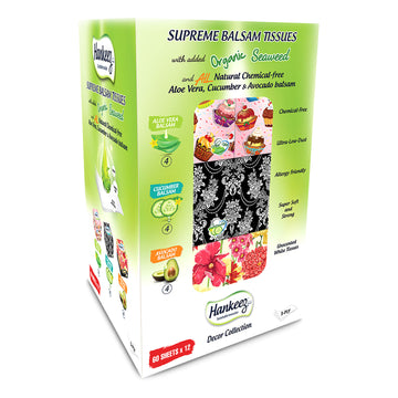 Hankeez Supreme Balsam Tissues 12 Pack x 60 Sheets Aloe Vera Avocado Cucumber