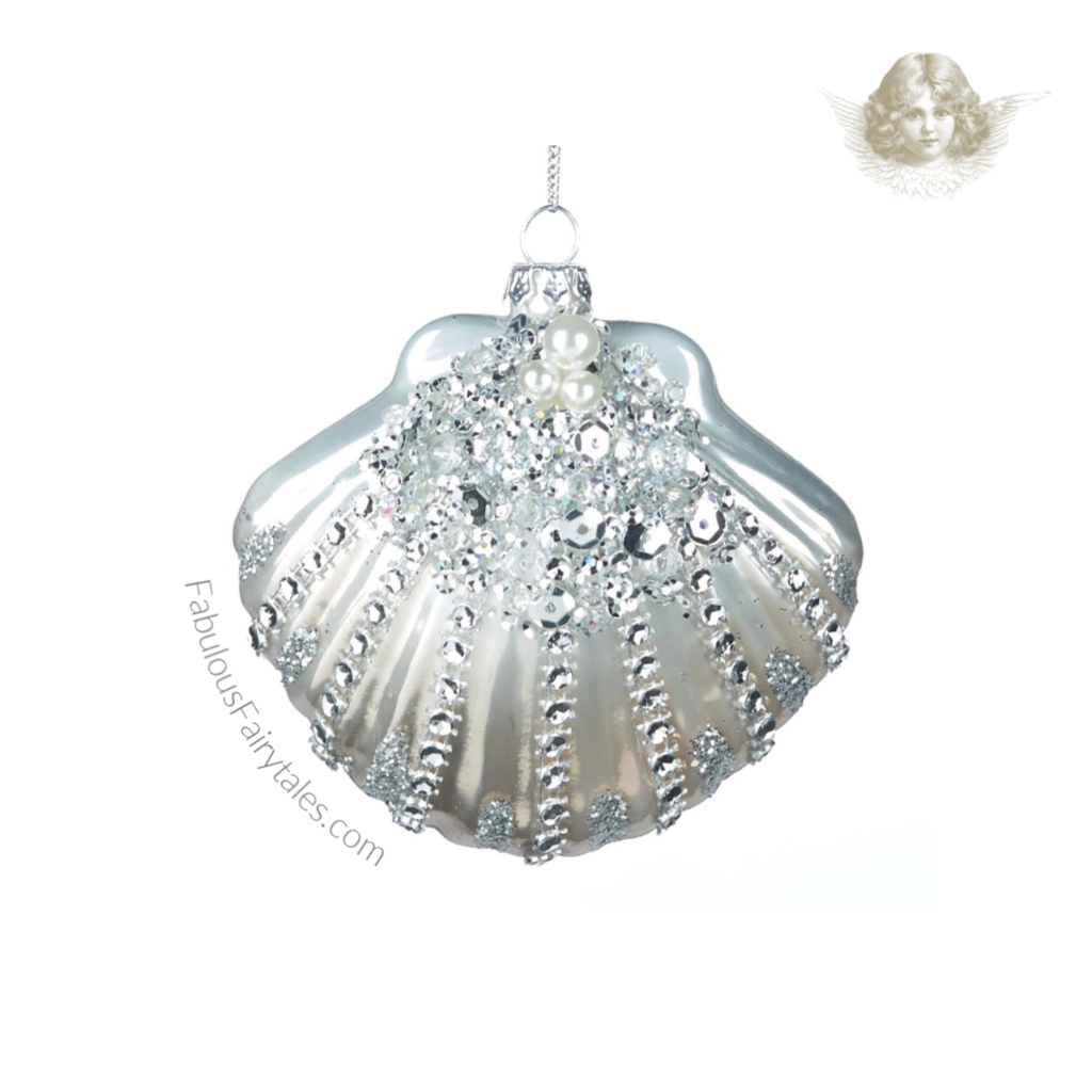 Glass Sequin Pearl Clam Shell Luxury Christmas Ornament