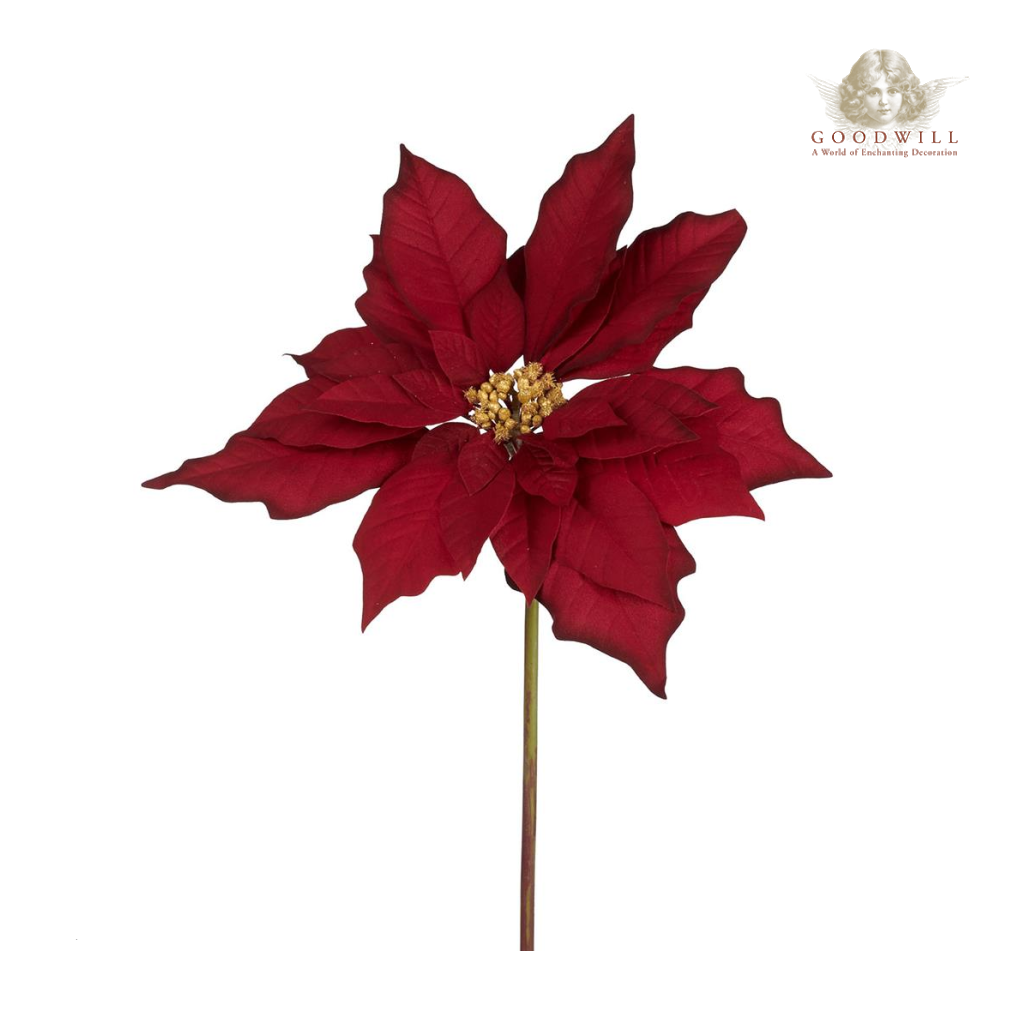 Goodwill Belgium Classic Poinsettia Stem Christmas Decoration