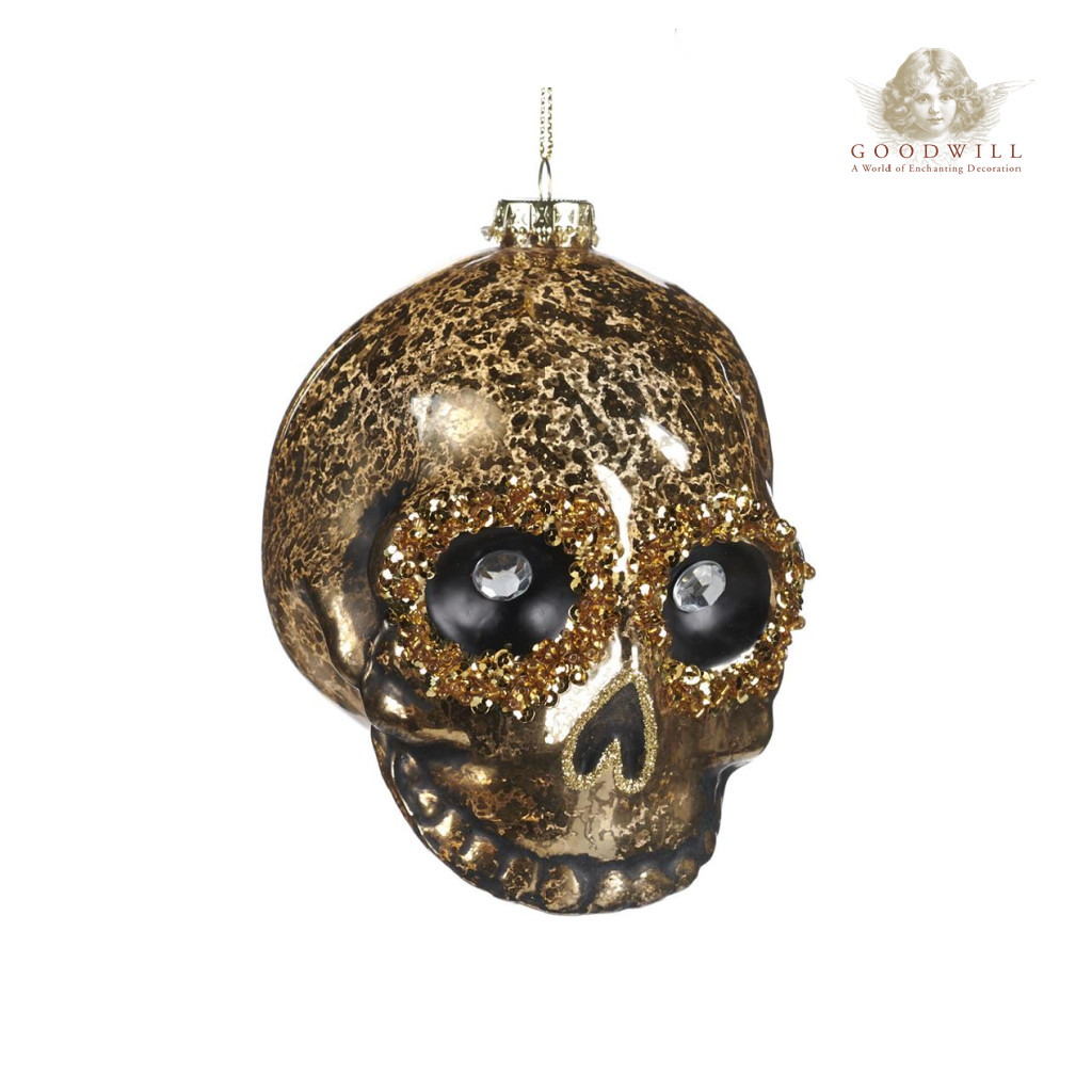 Goodwill Belgium Crystal Eye Skull Halloween Bauble