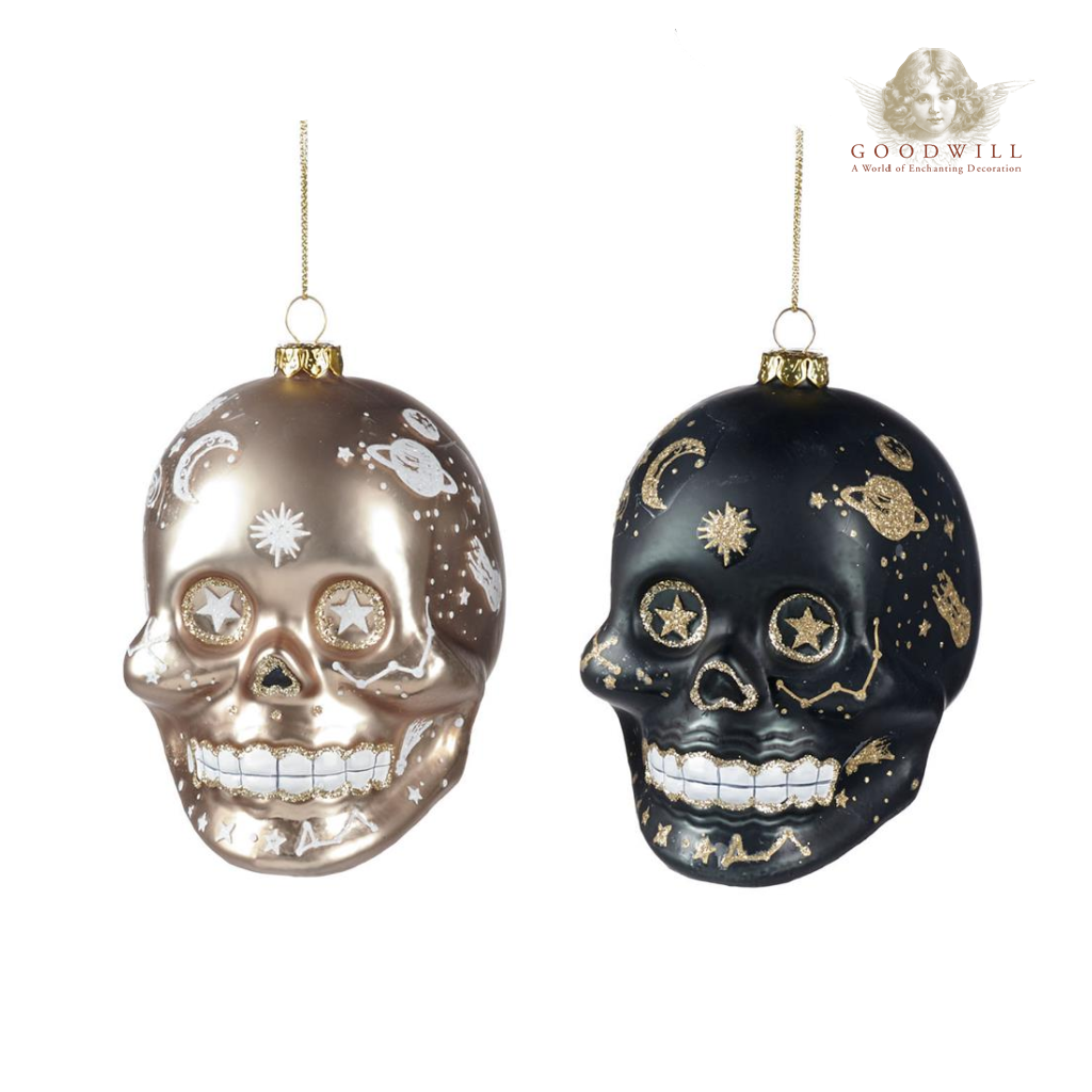 Goodwill Belgium Mystic Skull Halloween Bauble Duo