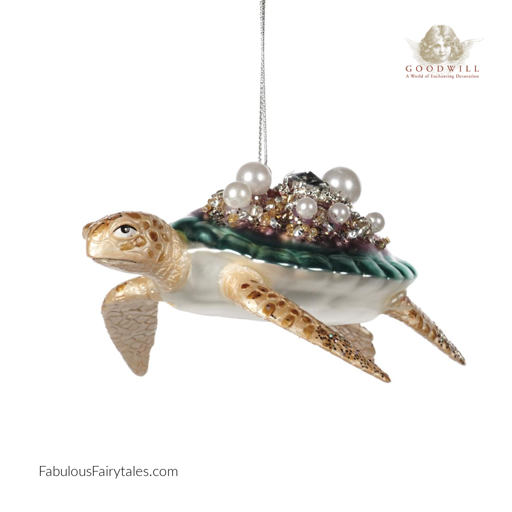 Goodwill Belgium 2021 Glass Pearl Jewel Turtle Ornament 12.5cm