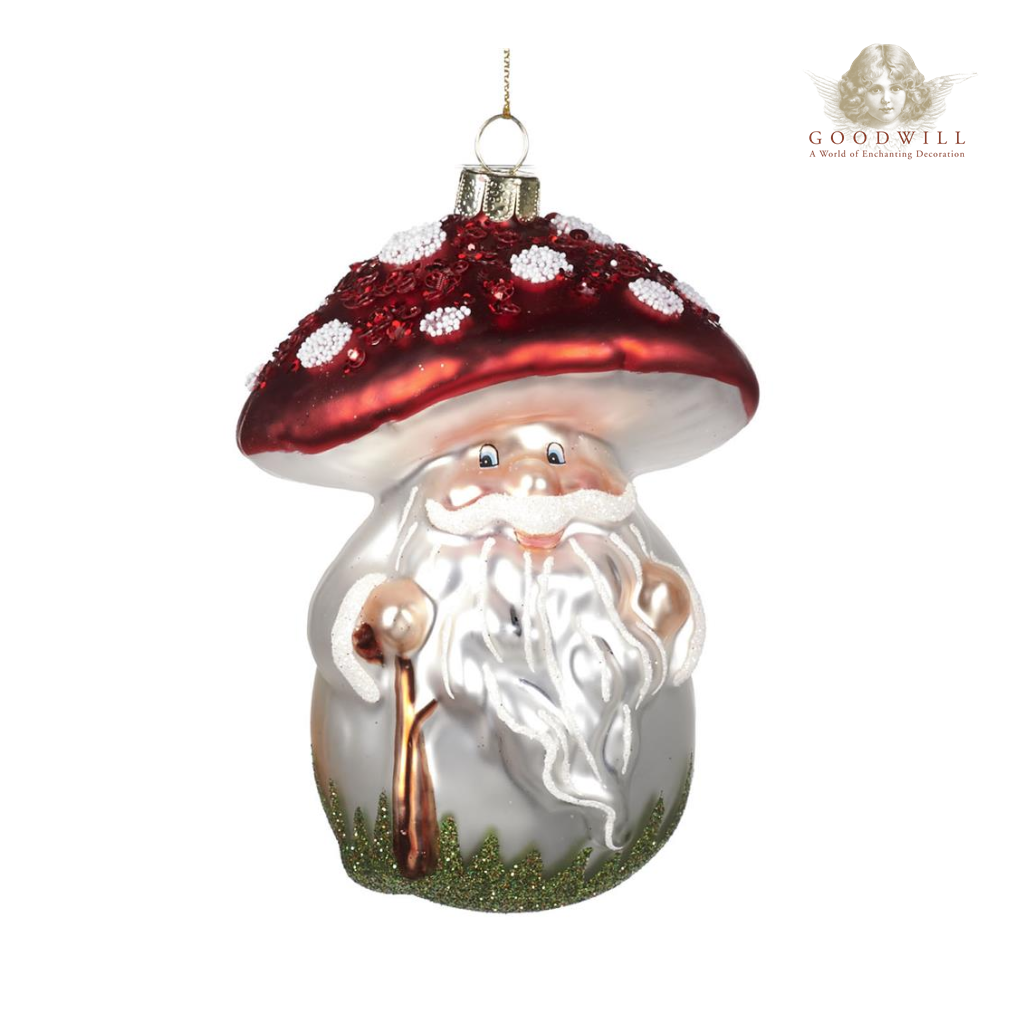 Goodwill Belgium 2021 Magic Mushroom Santa Glass Christmas Ornament