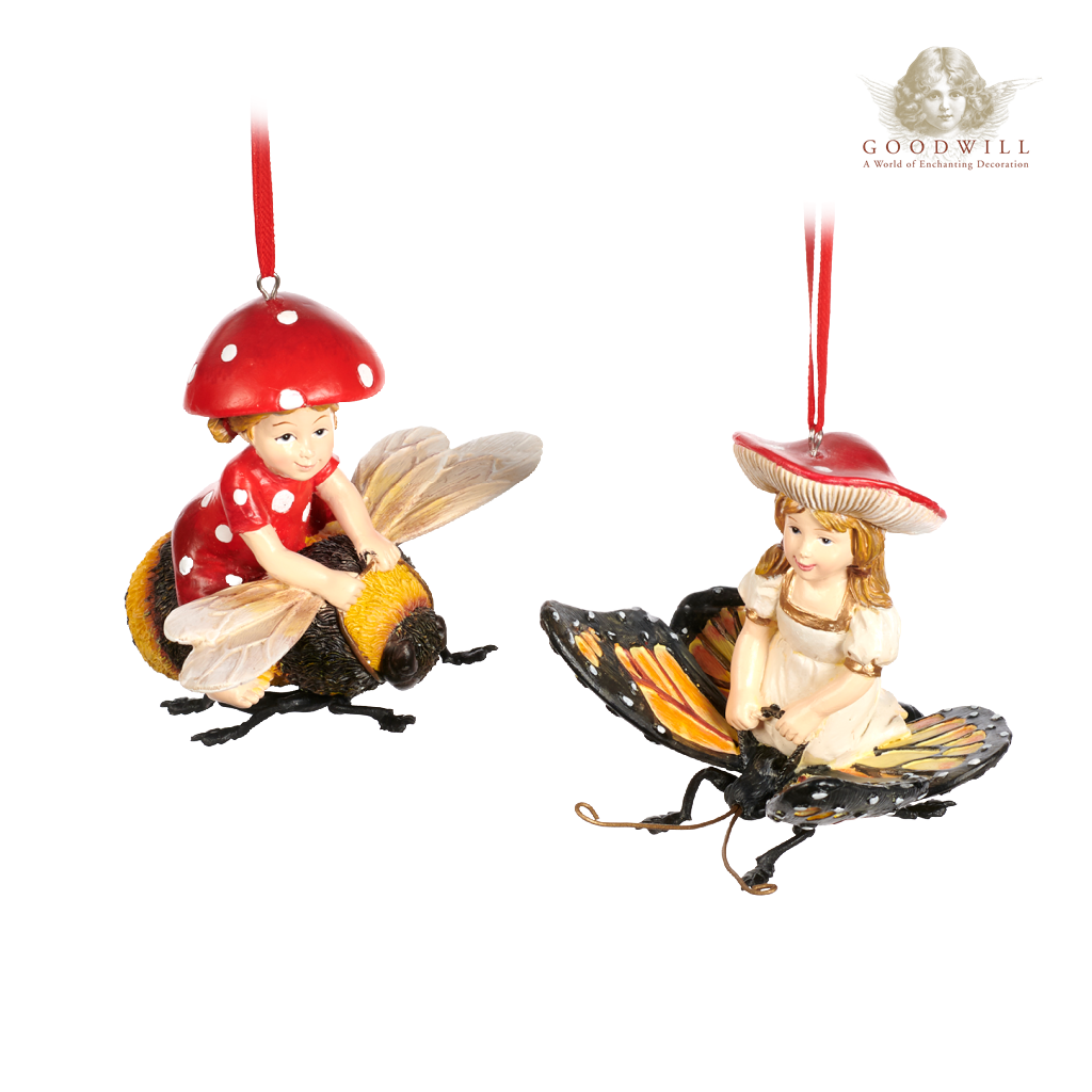 Goodwill Belgium 2021 Mushroom Girl Riding Bee Butterfly