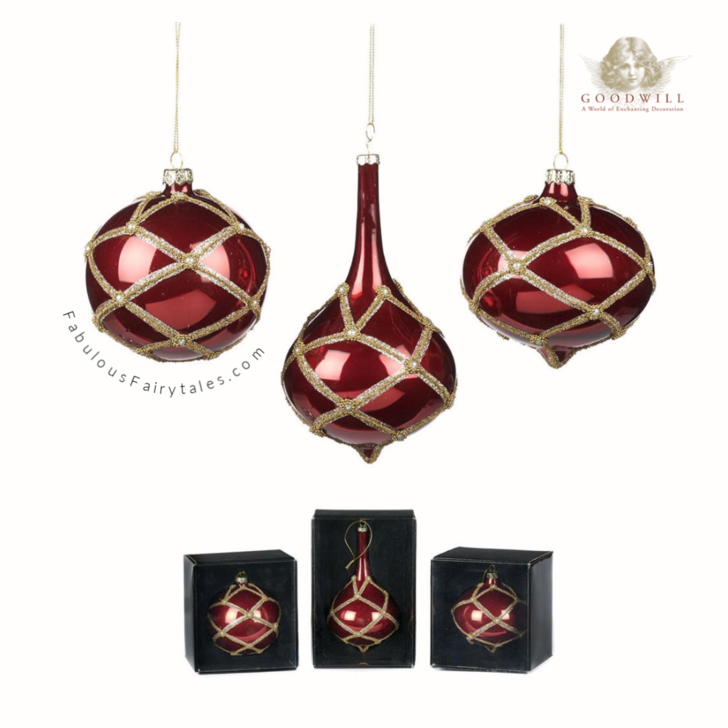 Goodwill Belgium Ruby Glass Luxury Christmas Bauble Set