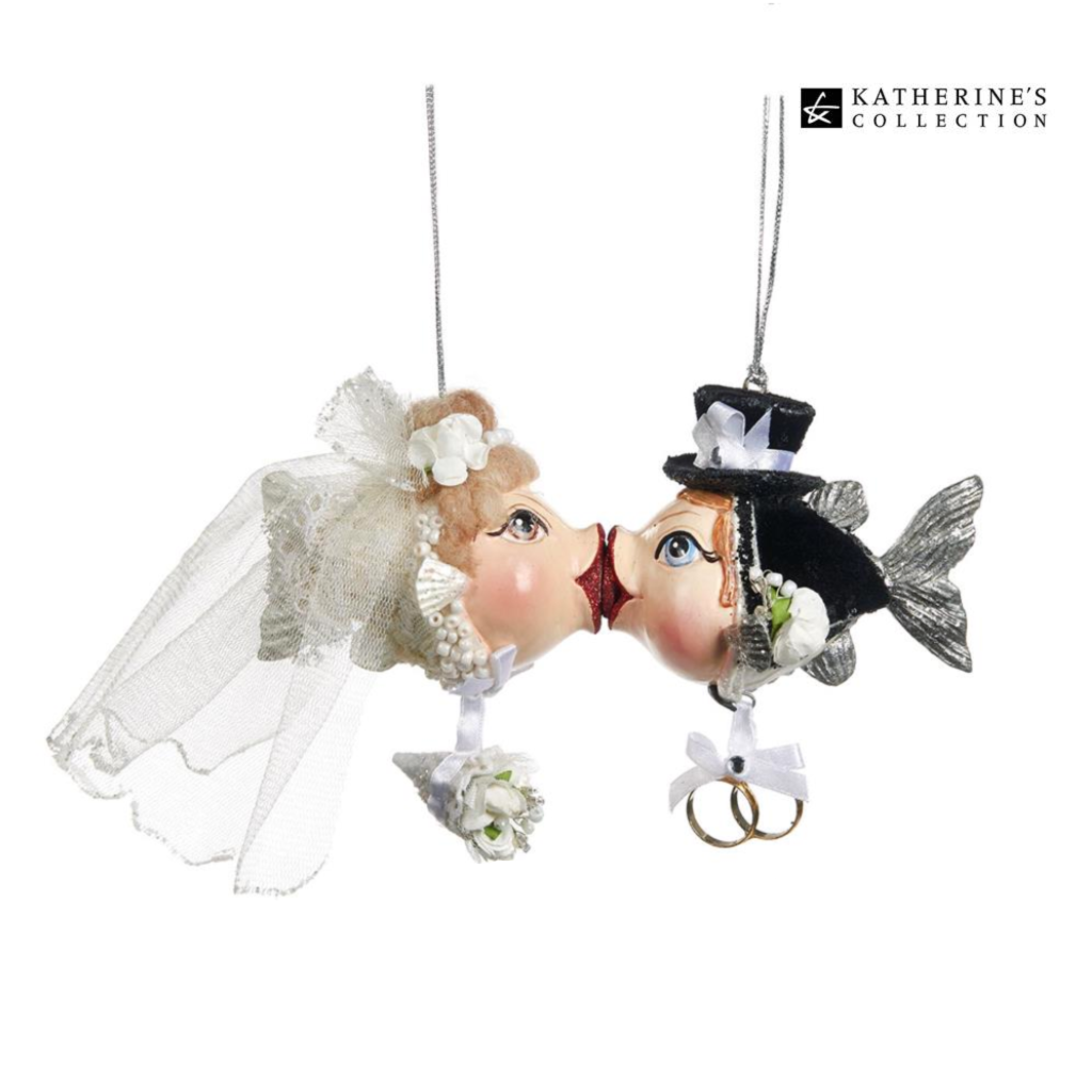 Katherine's Collection Bride and Groom Kissing Fish Christmas Ornament