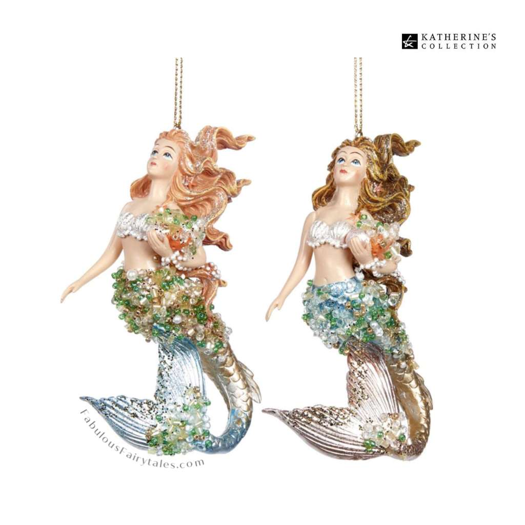 Katherine's Collection Treasure Mermaid Christmas Ornament Duo