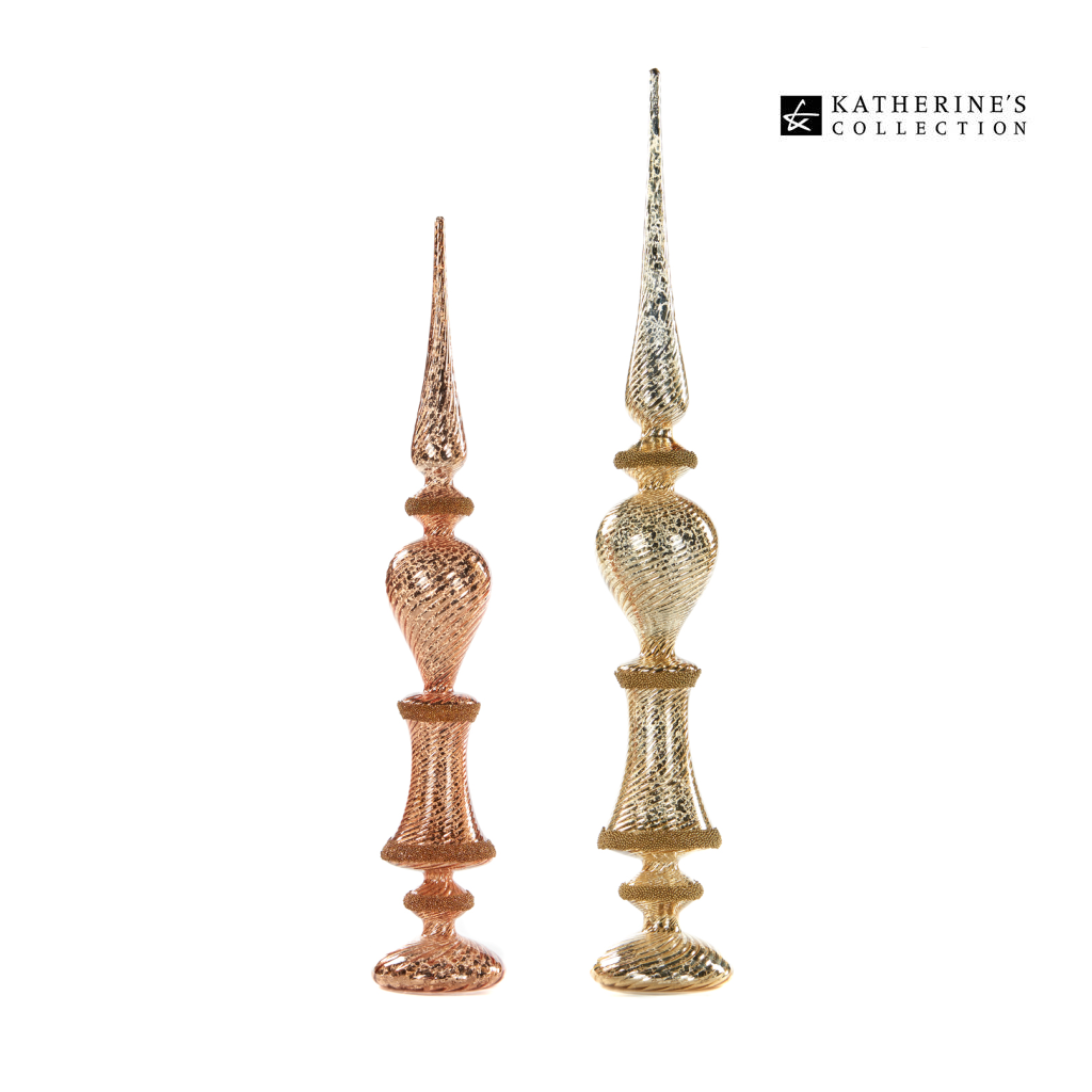Katherines Collection Speckled Glass Finial Duo