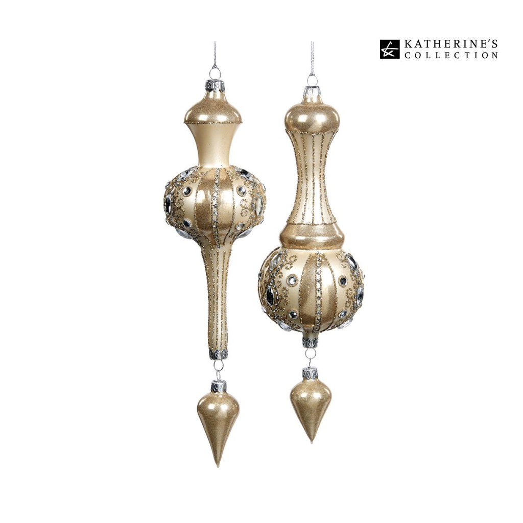 Katherines Collection Treasures Jewel Glass Finial Duo
