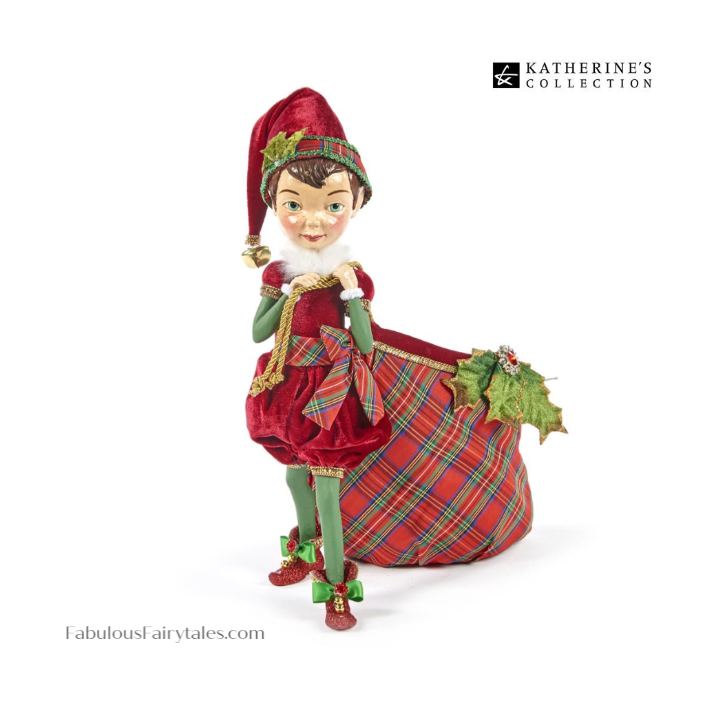 Katherine's Collection Christmas Elf Display Decoration with Toy Sack Candy Bag