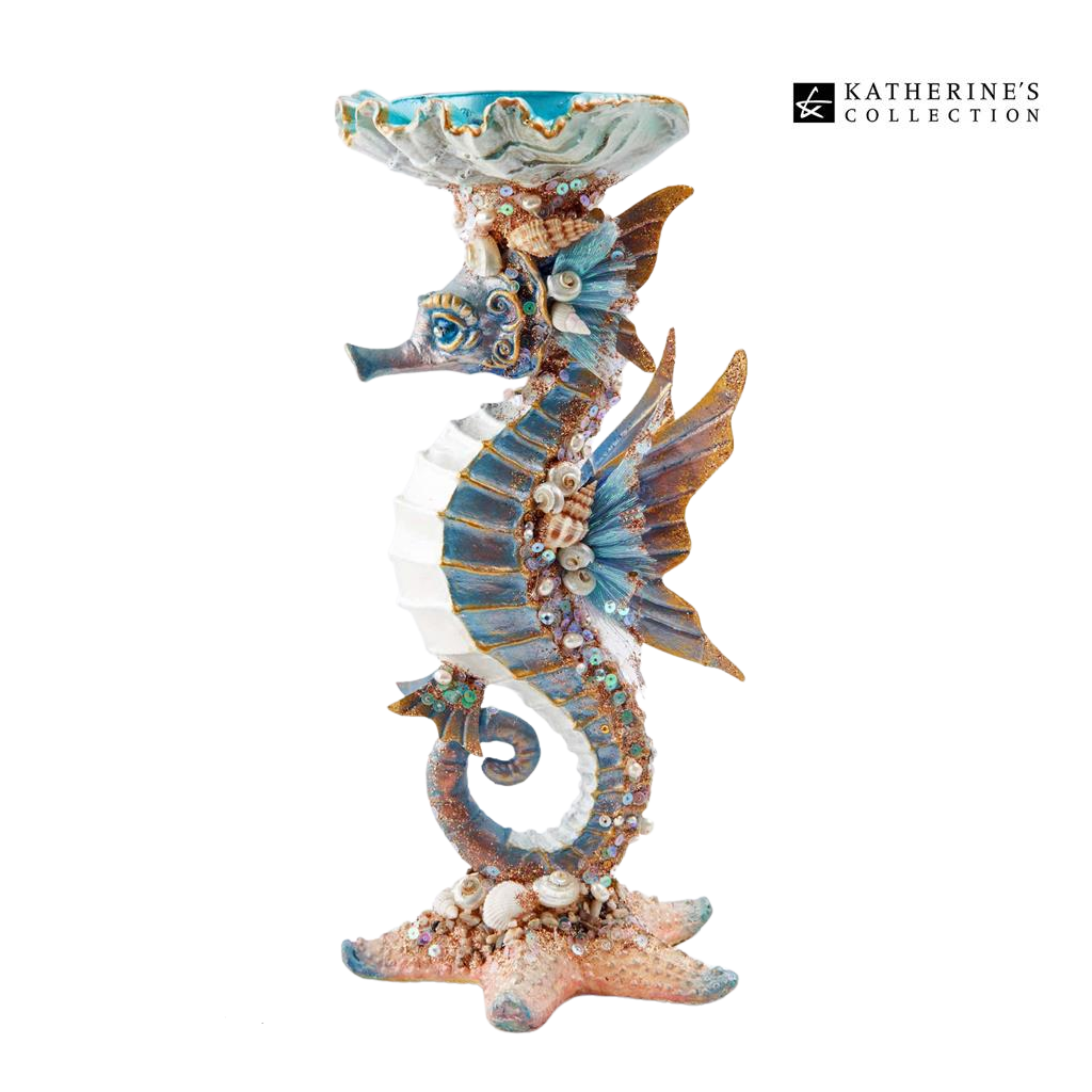 Katherine's Collection 2021 Coastal Dreams Seahorse Candle Holder