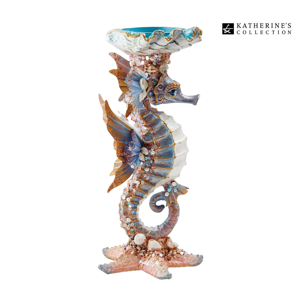 Katherine's Collection 2021 Coastal Dreams Sea Horse Candle Holder