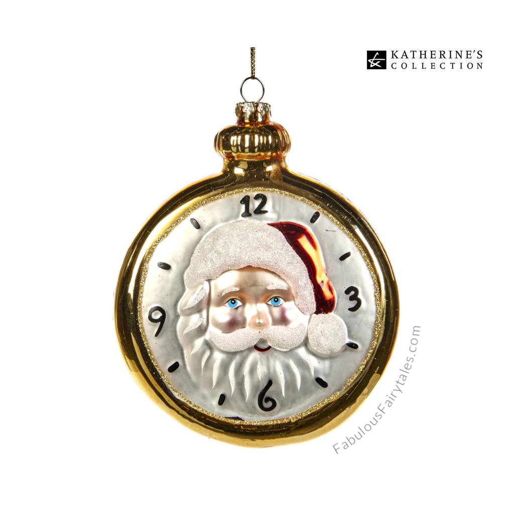 Katherine's Collection Glass Santa Pocket Watch Ornament