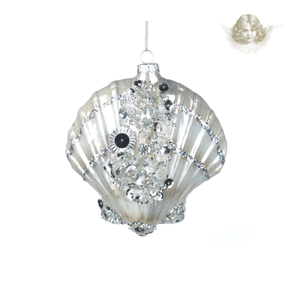Glass Arctic Jewel Scallop Shell Tree Decoration