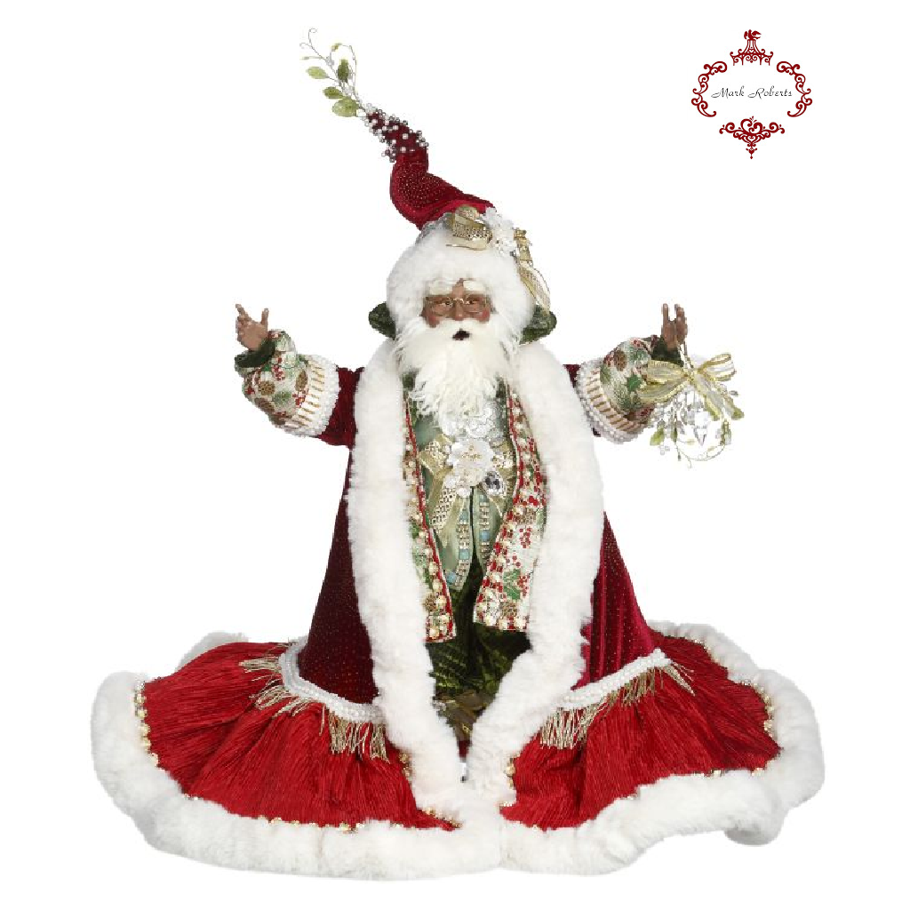 Mark Roberts Black Mistletoe Santa Christmas Display Doll