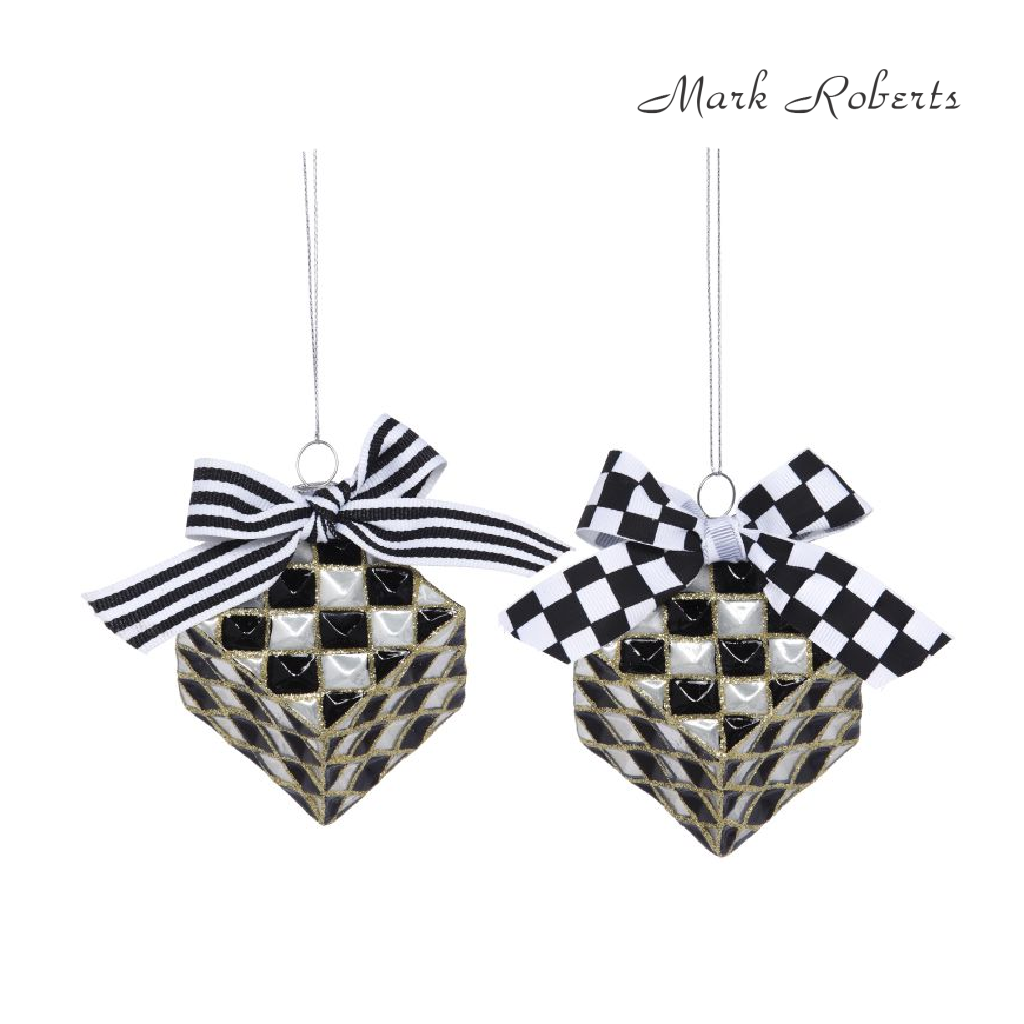 Mark Roberts Checkerboard Cube Ornament Duo
