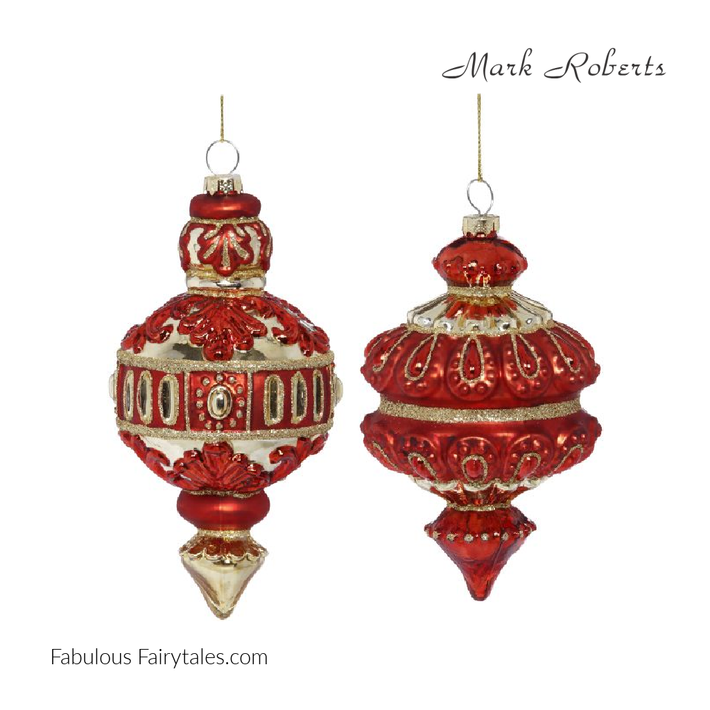 Mark Roberts Retro Holiday Christmas Finial Duo