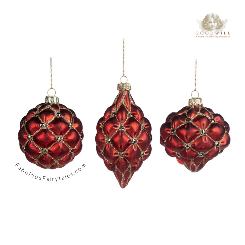 Goodwill Belgium Quilted Burgundy Luxury Glass Christmas Baubles