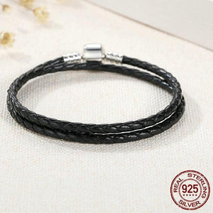 Sterling Silver & Black Leather Double Braided Rope Bracelet