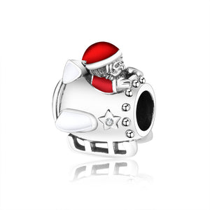 Sterling Silver Santa Travels by Plane Bead Charm