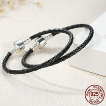 Load image into Gallery viewer, Sterling Silver & Black Leather Single Braided Rope Bracelet