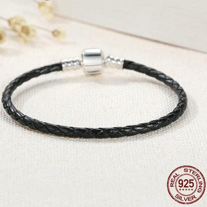 Sterling Silver & Black Leather Single Braided Rope Bracelet