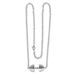 Sterling Silver Barbell Pendant Necklace