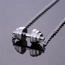 Load image into Gallery viewer, Sterling Silver Barbell Pendant Necklace