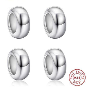Four Piece Set of Sterling Silver Smooth Round Bead Spacer Stoppers