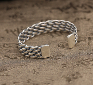 Sterling Silver Four Row Weave Cuff Bangle Bracelet - On Sale Thru January 30th...A Perfect Gift for Valentine's Day