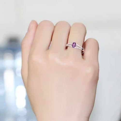 Alice Amethyst Gemstone and Cubic Zirconia Sterling Silver Ring