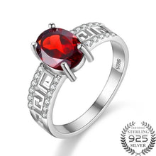 Load image into Gallery viewer, Caroline 1.5 Carat Oval Garnet Gemstone Ring with Sterling Silver Setting. Garnet ring, Garnet and Cubic Zirconia Ring, Garnet, Garnet Gemstone, 100Sterling.com