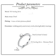 Load image into Gallery viewer, Sterling Silver Pearl and CZ Princess Ring