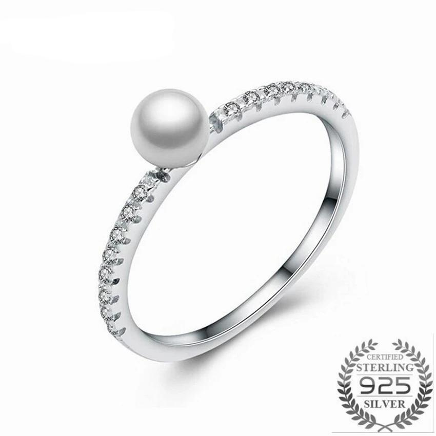 Sterling Silver Pearl and CZ Princess Ring