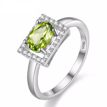 Load image into Gallery viewer, Sterling Silver 1 Carat Peridot & CZ Ring