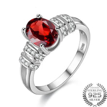 Load image into Gallery viewer, Sterling Silver Oval Red Garnet & CZ Ring, Garnet Birthstone, Garnet Birthstone Ring, Garnet Ring, 925 Sterling Silver Garnet Ring, 1.5 carat garnet, cocktail ring, garnet, 100sterling.com