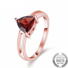 Load image into Gallery viewer, Tricia 1.7 Carat Triangle Garnet Gemstone Ring with Rose Gold over Sterling Silver Setting, Garnet Ring, 1.7 carat garnet, January Birthstone Ring, January Birthstone jewelry, Sterling Silver Garnet, Garnet, 100sterling.com,