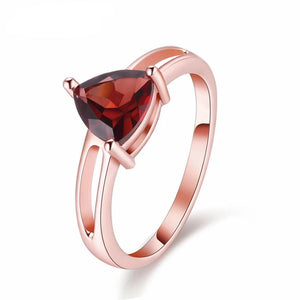 Tricia 1.7 Carat Triangle Garnet Gemstone Ring with Rose Gold over Sterling Silver Setting, Garnet Ring, 1.7 carat garnet, January Birthstone Ring, January Birthstone jewelry, Sterling Silver Garnet, Garnet, 100sterling.com,