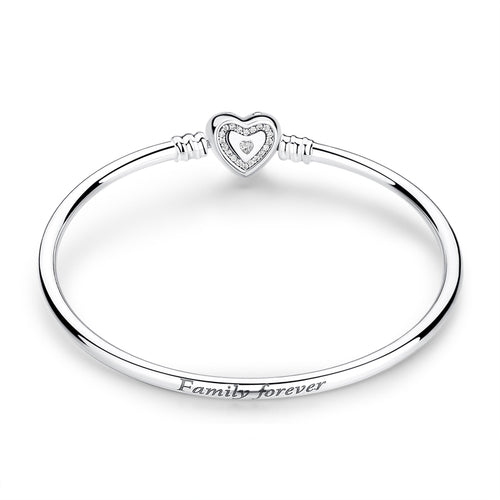 Sterling Silver Bangle Bracelet with Cubic Zirconia Heart