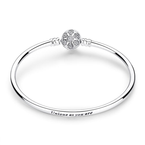 Sterling Silver Bangle Bracelet with Cubic Zirconia Snowflake
