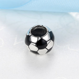 Sterling silver, Pandora style bead, sterling silver bead charm, soccer bead charm, sterling silver soccer bead charm